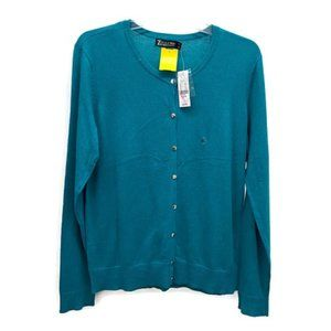 New York & Company Turquoise Knit Cardigan
